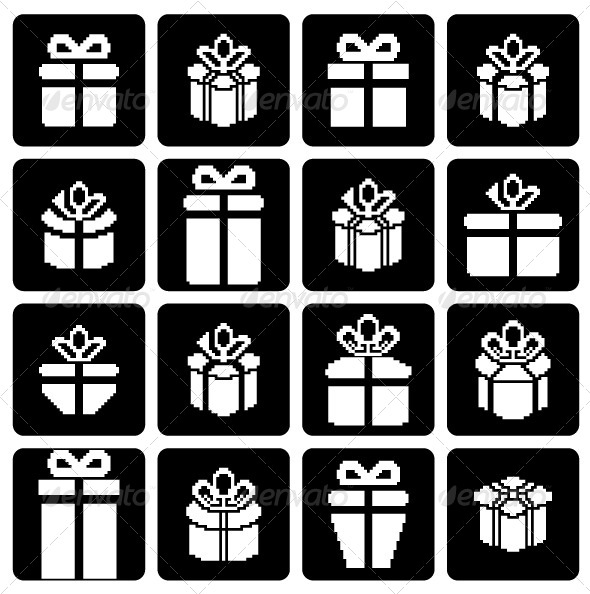 GraphicRiver Gift Box Pixel Icons 5580367