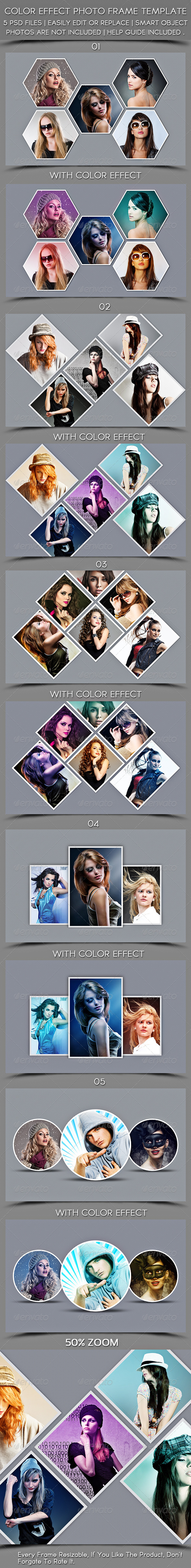 Color Effect Photo Frame Template