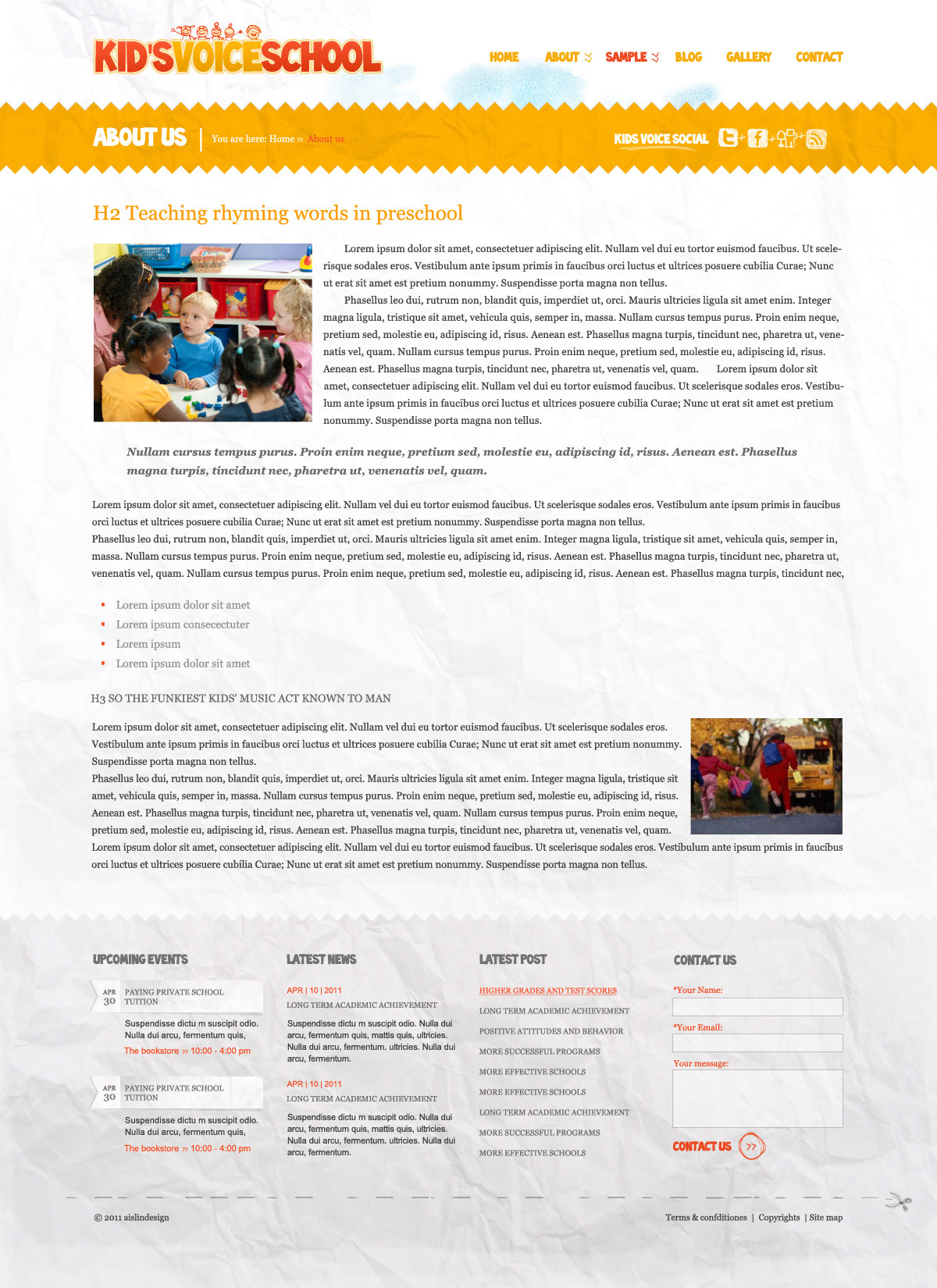 Kids Voice School - HTML Template