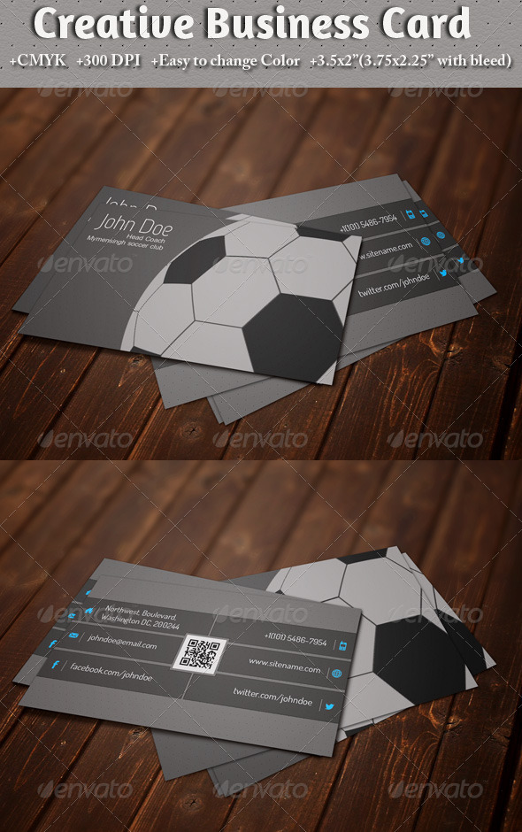 GraphicRiver Business Card for Soccer Lover 5580926