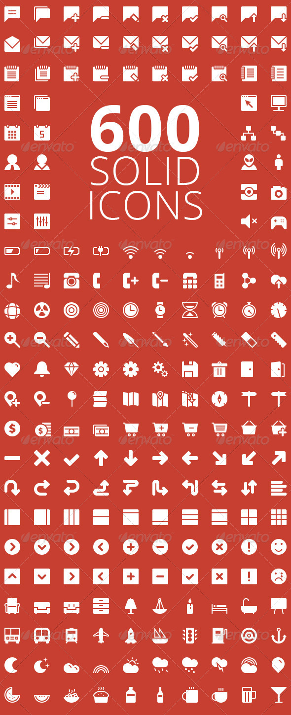 GraphicRiver 600 Solid Vector Icons 5580931