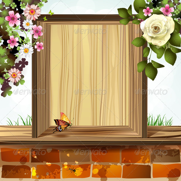 GraphicRiver Wood Background with Flowers 5581141