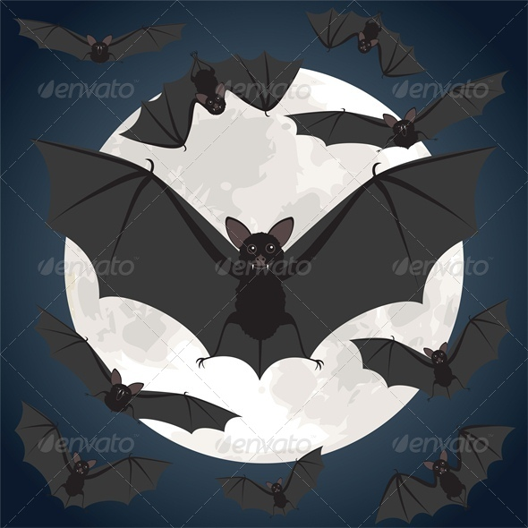 GraphicRiver Halloween Night with Bats Flying over Moon 5581351