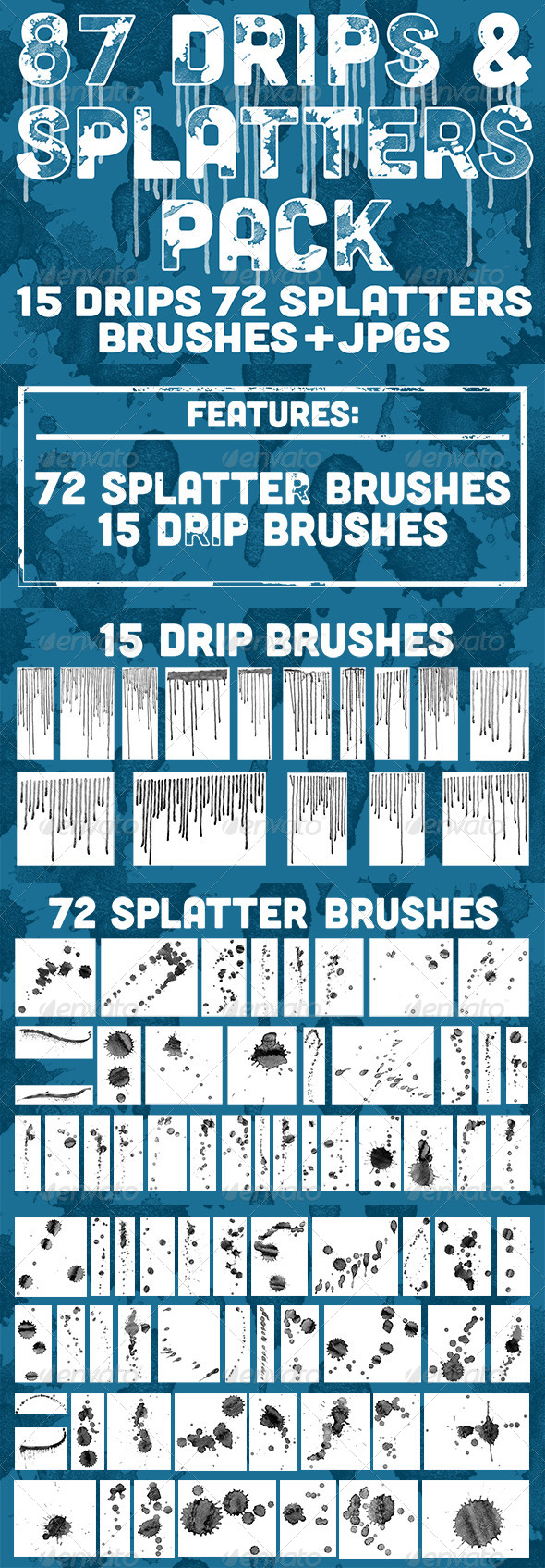 GraphicRiver 87 Drips & Splatters Brush Pack 5582028