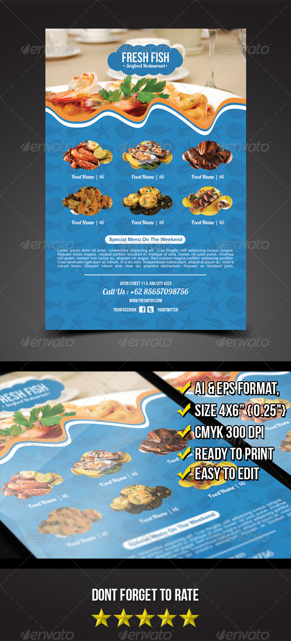 Seafood Flyer Template - Print Templates