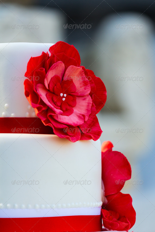 Wedding cake with flowers - Stock Photo - Images