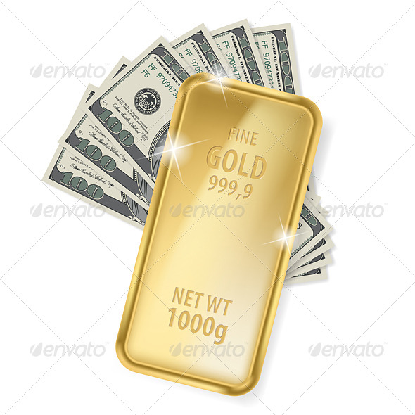 GraphicRiver Gold Bar and Dollars 5583266
