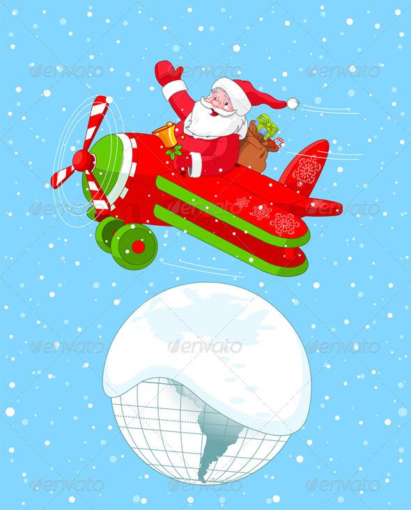 GraphicRiver Santa Flying his Christmas Plane 5583285