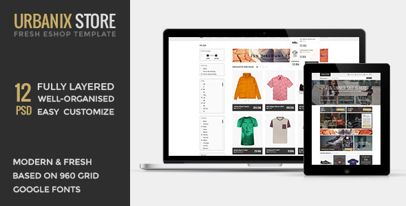 Urbanix Store is modern fresh template for shops of all kind. Clean user friendly design is perfect for customers. Features: 12 Fully layered and well-organized