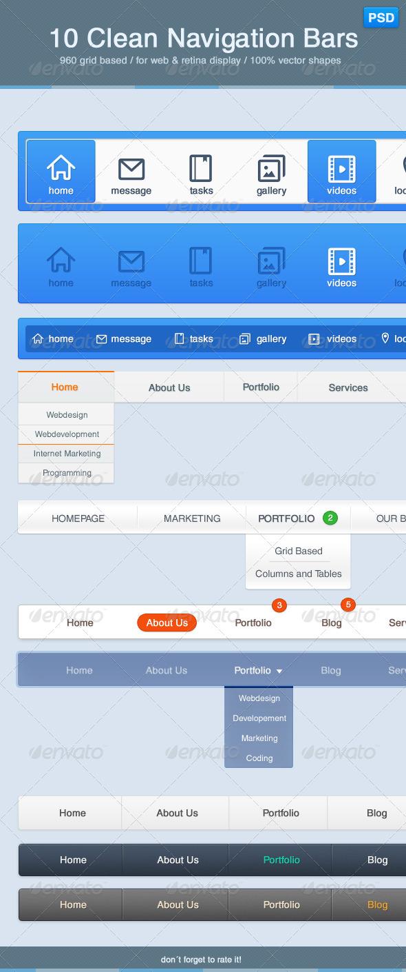10 Clean Navigation Bars - Navigation Bars Web Elements