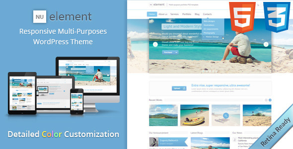 ThemeForest NuElement Responsive Multi-Purposes WordPress Theme 4214812