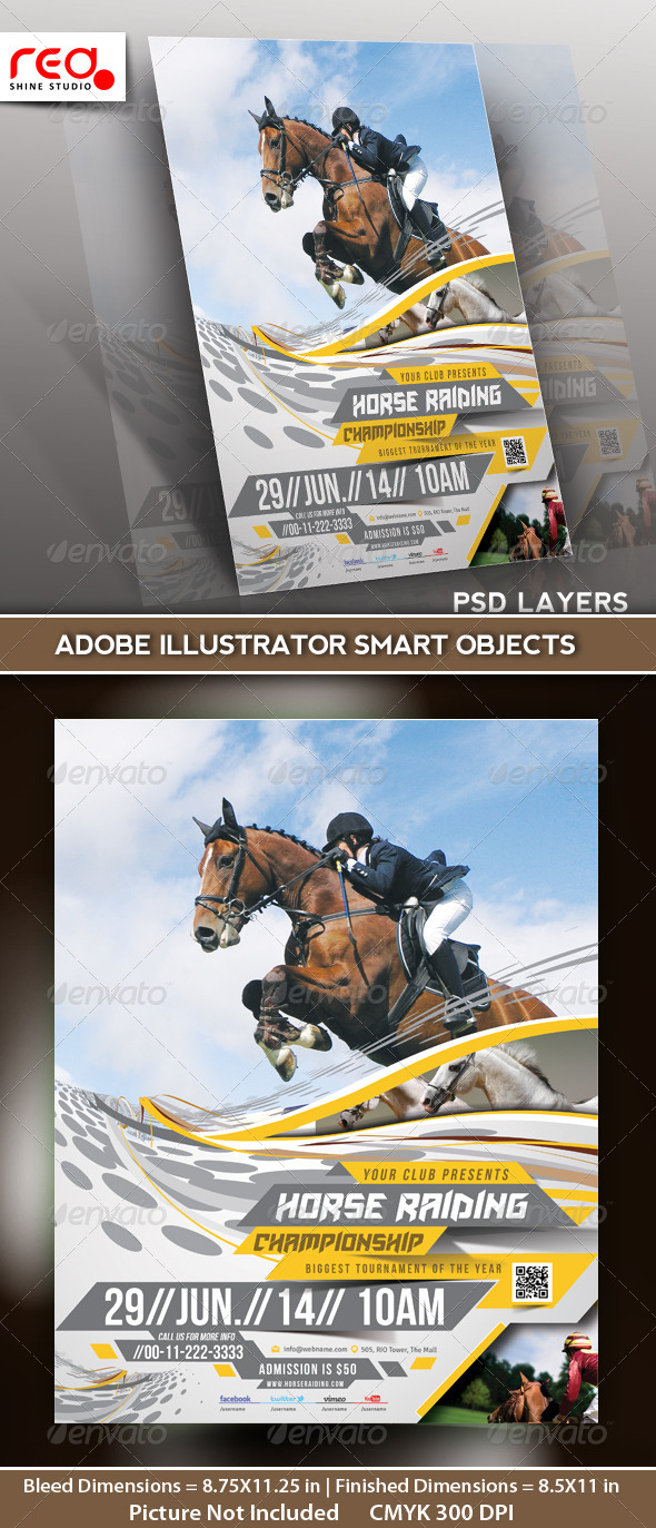 Horse Riding Flyer Poster Template