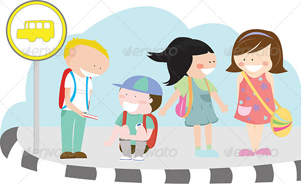 GraphicRiver Children at Bus Stop 5585273