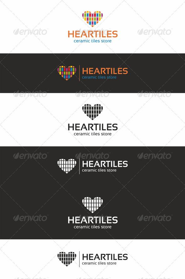 Colorful Heart Tiles Logo