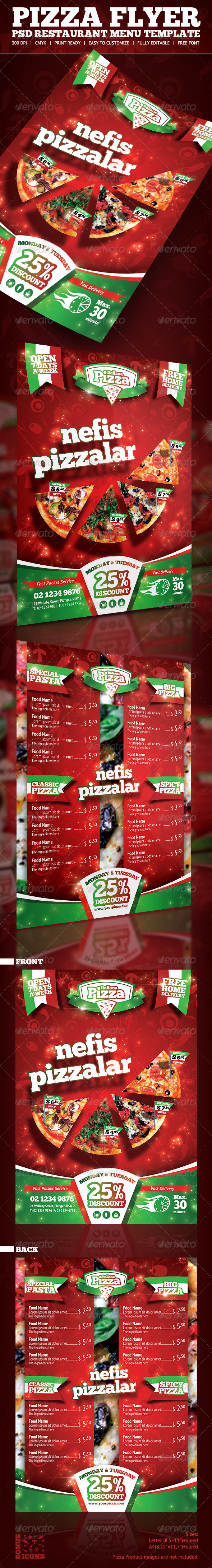 GraphicRiver Pizza Menu Flyer PSD Template 5586431
