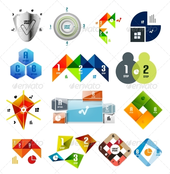 Set of Infographic Templates and Elements - Web Elements Vectors