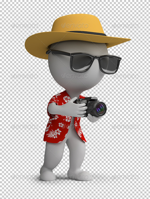 GraphicRiver 3D small people tourist with a camera 5586780