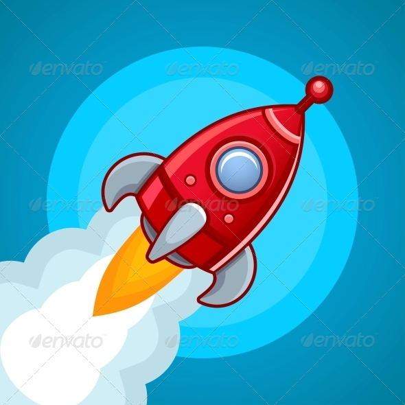 GraphicRiver Rocket on Blue Sky 5586968