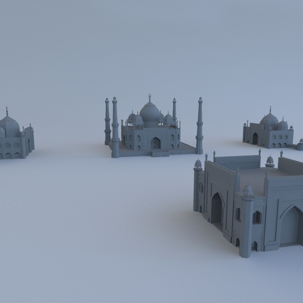 Taj Mahal with Mosque  - 3DOcean Item for Sale