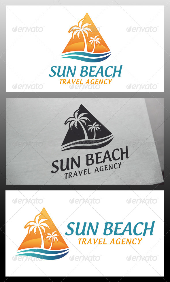 Sun Beach Oasis Logo Template