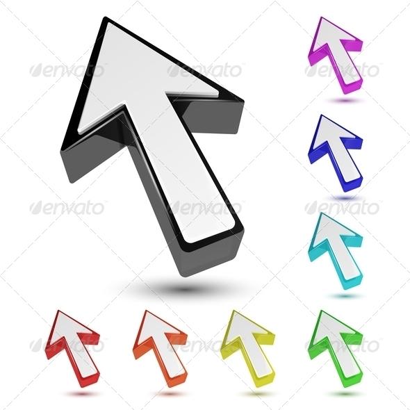 Set of Multicolored 3D Arrow Cursor Pointers