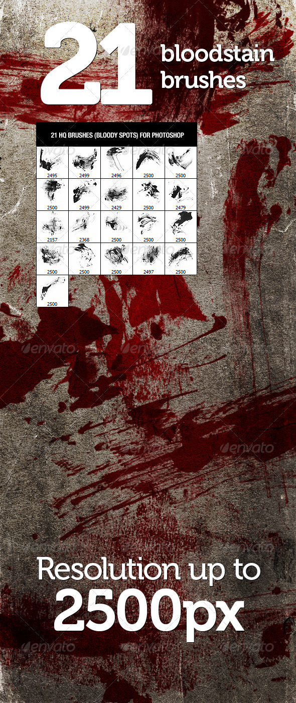 GraphicRiver 21 Bloodstain Photoshop Brushes 574175