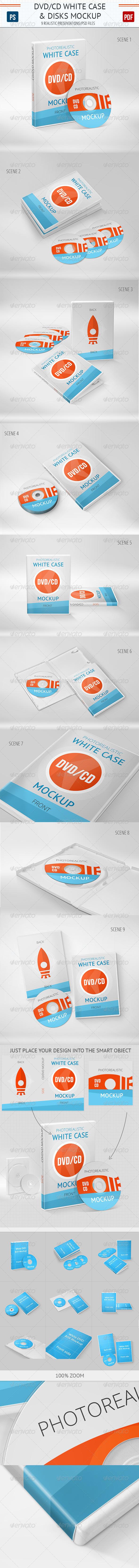 GraphicRiver Realistic DVD CD Mockup White Case & Disks 5591235