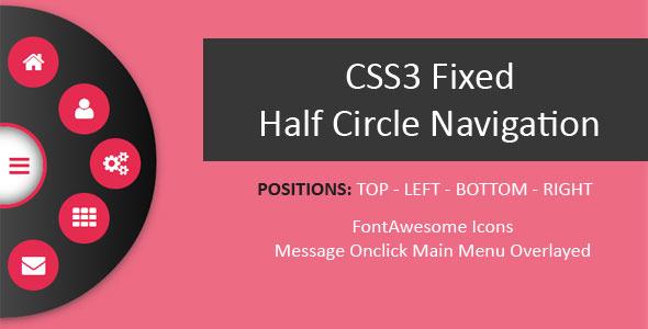 CSS3 Fixed Half Circle Navigation