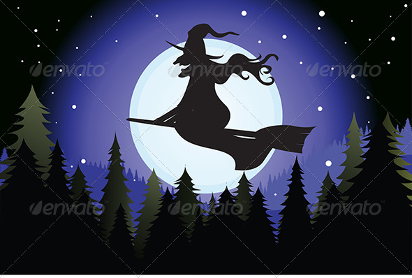 GraphicRiver Halloween Witch Silhouette 5591591