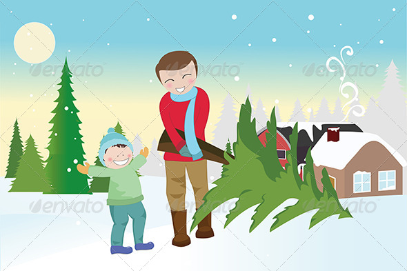 GraphicRiver Father and Son Carrying a Christmas Tree 5591604