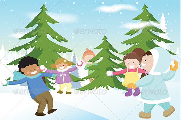 GraphicRiver Children Playing Snowballs 5591682