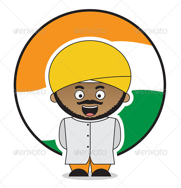 GraphicRiver Little Indian Man With Orange Turban 5588202