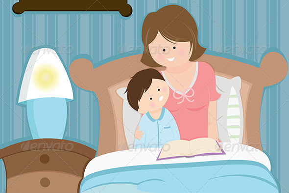 GraphicRiver Mother and Son Reading Bedtime Story 5591785