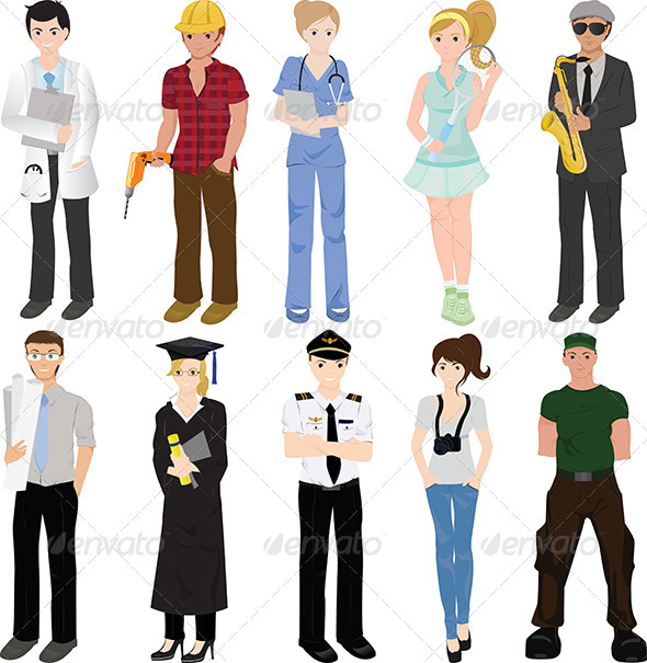 Professional Workers Collage Graphicriver