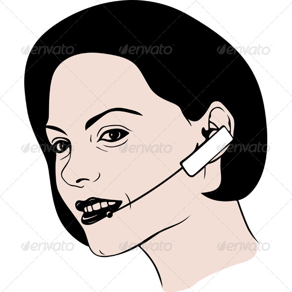 Lady Talking on Headphone