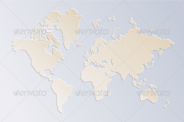 Paper World Map in Beige and Blue