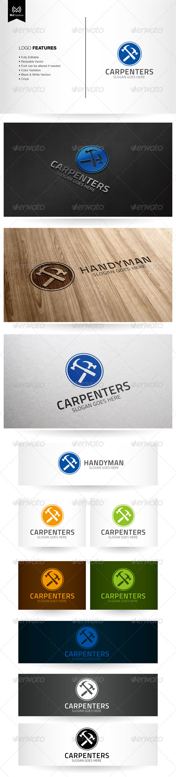 GraphicRiver Handyman and Carpentry Logo 5592054