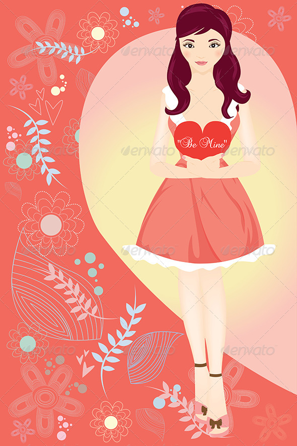 GraphicRiver Valentine girl 5585332