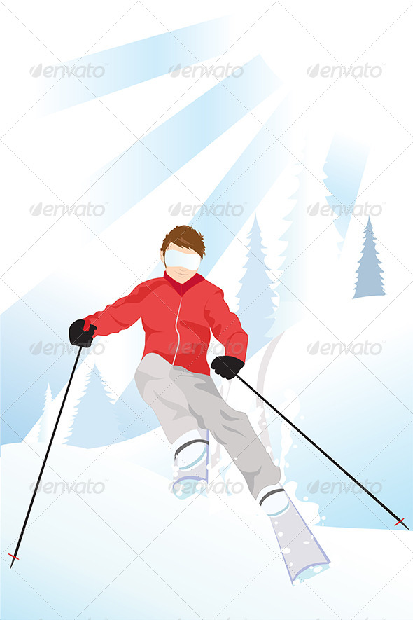 GraphicRiver Skier in the Mountain 5585326