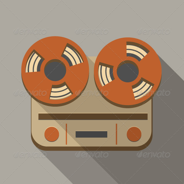 GraphicRiver Flat Long Shadow Tape Recorder 5586602