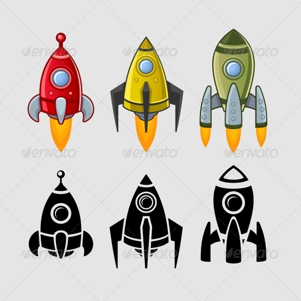 GraphicRiver Spaceships set Color and Black 5592213