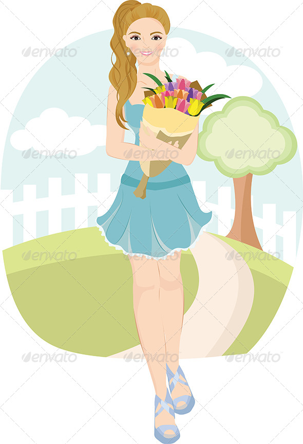 GraphicRiver Girl Holding Tulips 5592298