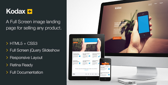 Kodax - Full Screen Landing Page Download