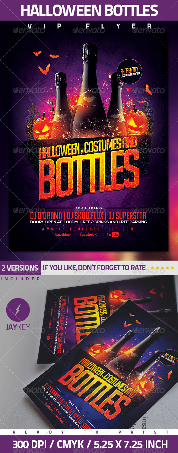 GraphicRiver Halloween Bottles Party Flyer 5592991