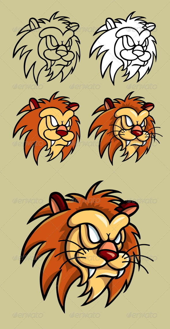 Lion Head Illustration - Animals Characters
