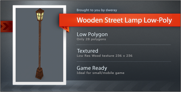 Wooden Street Lamp Low 28 Poly