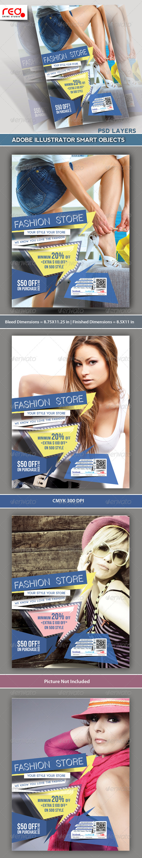 GraphicRiver Fashion Store Flyer & Poster Template 5593131