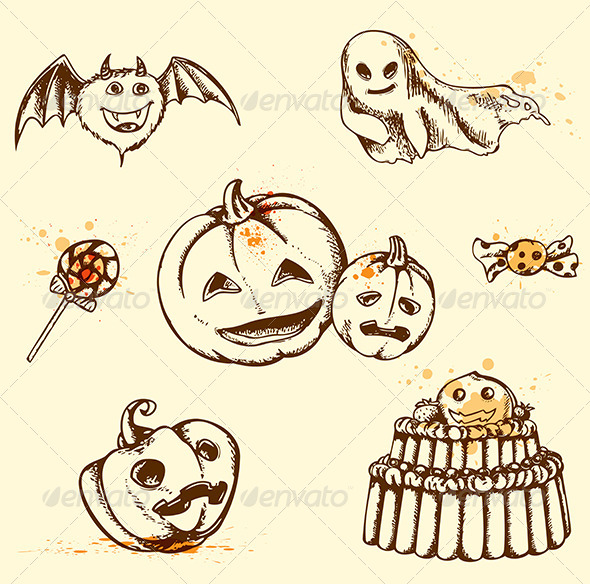 GraphicRiver Vintage Halloween Elements 5593203