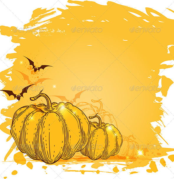 GraphicRiver Grunge Background with Pumpkins 5593304