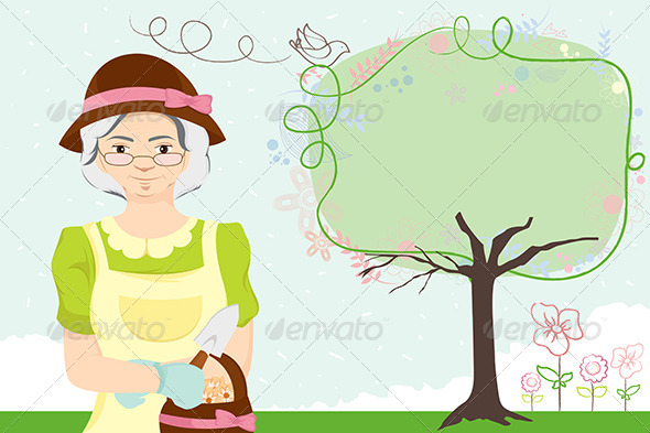 GraphicRiver Gardening Lady 5593873
